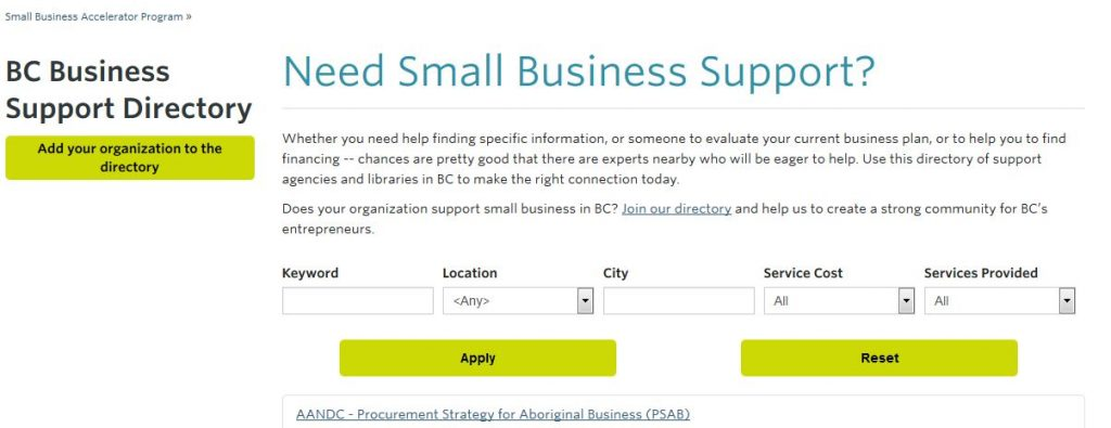 BC Business Support Directory search page (Courtesy of UBC Library, Irving K. Barber Learning Centre).